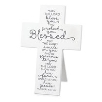 Mdf Cross: Baby Blessed, White (Numbers 6:24-26)
