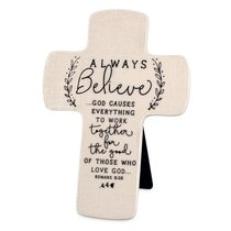 Cross Ceramic Hand Drawn Doodles: Always Believe (Romans 8:28)