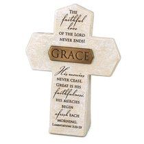 Bronze Title Bar Cross: Grace, Cast Stone (Lam 3:22-23)