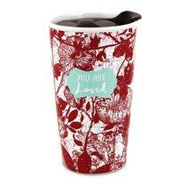 Ceramic Tumbler Mug Pretty Prints: You Are Loved, Red/White (Isaiah 43:4)