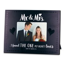 Mdf Frame: Handwritten Mr & Mrs, Black & White (Song Of Songs 3:4)