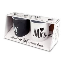 Ceramic Mug Set of 2: Handwritten Mr & Mrs, Black & White (Song Of Songs 3:4)