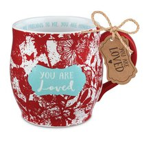 Ceramic Mug Pretty Prints: You Are Loved, Red/White, (Isaiah 43:4)