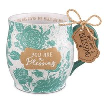 Ceramic Mug Pretty Prints: You Are a Blessing, Turquoise/White, (Philemon 1:7)