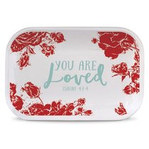 Ceramic Rectangle Tray Pretty Prints: You Are Loved, Red/White (Isaiah 43:4)