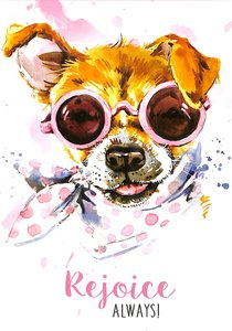 Notepad: Rejoice Always! (Puppy Wearing Sunglasses)