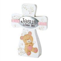 Tabletop Cross: Jesus Loves Me - Girl (Pink/white)