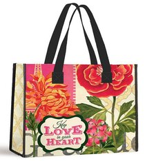 Tote Bag: Keep Love in Your Heart (Red/red Gerbera With Black Handles)