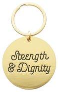Metal Keyring in Tinbox: Strength & Dignity, Pink Flowers (Proverbs 31:25)