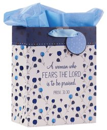 Gift Bag Medium: Proverbs 31:30 Collection, Blue/Floral