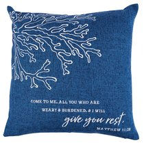 Square Pillow: Give You Rest, Dark Blue (Matthew 11:28)