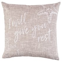 Square Pillow: I Will Give You Rest, Sand (Matthew 11:28)