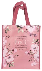 Non-Woven Tote Bag: Trust in the Lord, Pink Floral (Proverbs 3:5)