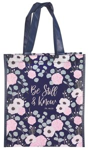 Non-Woven Tote Bag: Be Still & Know, Navy/Floral (Psalm 46:10)