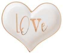 Love Collection Trinket Tray: Love Heart Shaped, White/Gold Edge