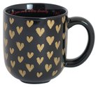 Love Collection Ceramic Mug: Love Each Other, Black/With Gold Hearts