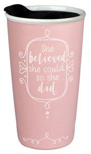 Ceramic Tumbler Mug: Affirmed She Believed, Light Pink/White (Phil 4:13)