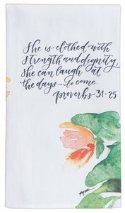 Gracelaced Cotton Tea Towel: White/Floral (Proverbs 31:35)