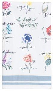 Fruit of the Spirit Cotton Tea Towel: White/Flowers