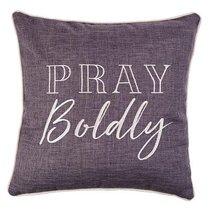 Square Pillow: Pray Boldly, Grey/White
