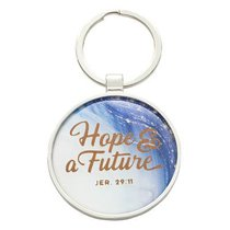 Metal Keyring in Tinbox: Hope & a Future, Blue/White Marble/Gold Etching (Jer 29:11)