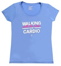 Womens Activewear T-Shirt: Cardio, Small Light Blue