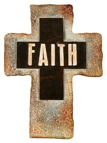 Resin Standing Cross: Faith, 20Cm