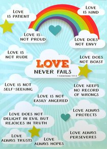 Poster Large: Love Never Fails, Clouds/Rainbow