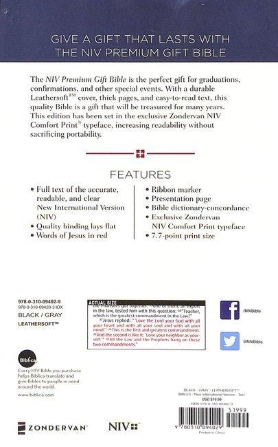 NIV Premium Gift Bible Black/Gray (Red Letter Edition)