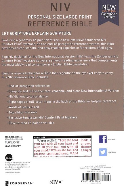 NIV Personal Size Reference Bible Large Print Blue (Red Letter Edition)